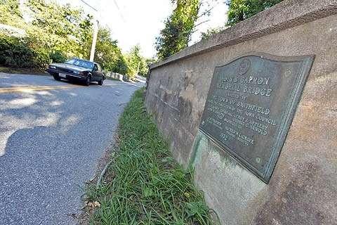 Capron Memorial Bridge sign.