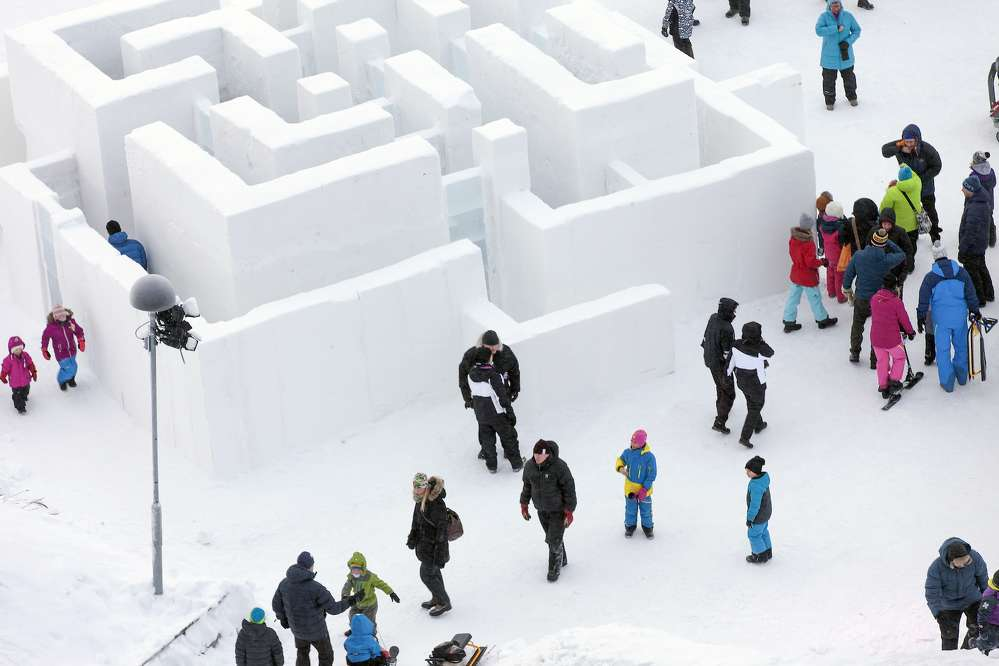Made entirely of snow, the playground is fun and environmentally sustainable.