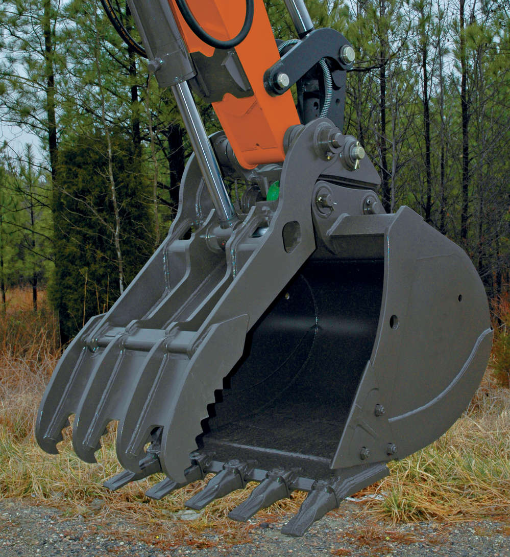 Hydraulic and pro-link wedge lock clamps can expand excavator versatility when paired with multiple bucket widths and lengths. Clamps enable precise movement and positioning, and help secure material for superior loading and material-handling applications.