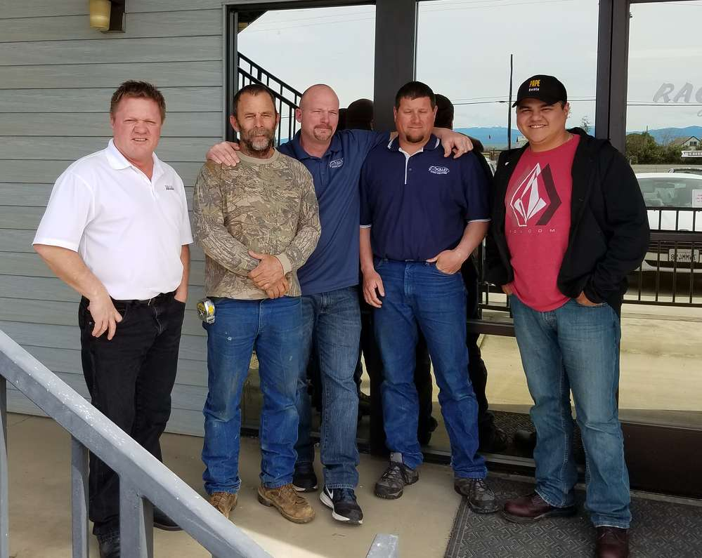 Rackley-edit.png: (Left to Right) Scott Rackley, President, with Mike Boggs, Foreman; Robert Vanucci, Safety Coordinator; Charlie Alderson, Foreman; and Andy Ontiveros, Equipment Manager. This team of senior employees have been approved as SEAA/NCCER Ironworker Training Instructors.