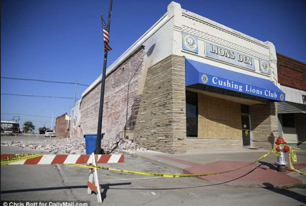 The 1920s Cushing Lion's Den was damaged but remained standing after the 5.0 earthquake hit a few miles outside Cushing