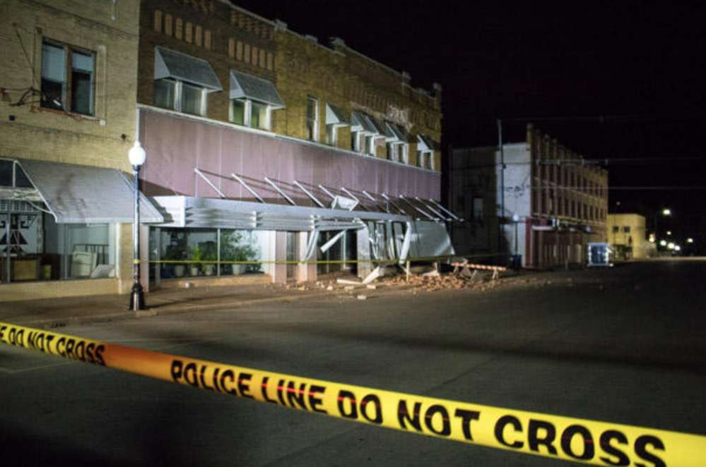 CREDIT STATE IMPACT-OKLAHOMA. After the earthquake the landmark building will be demolished.
