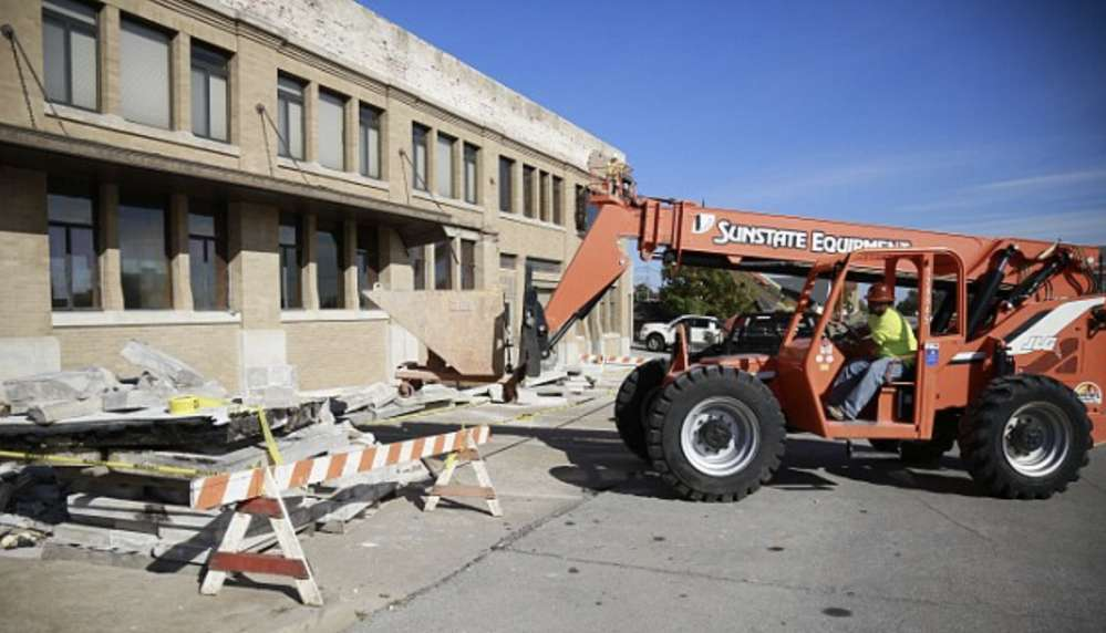 The front facade collapsed on March 14 and it was determined that a demolition of the property was necessary.