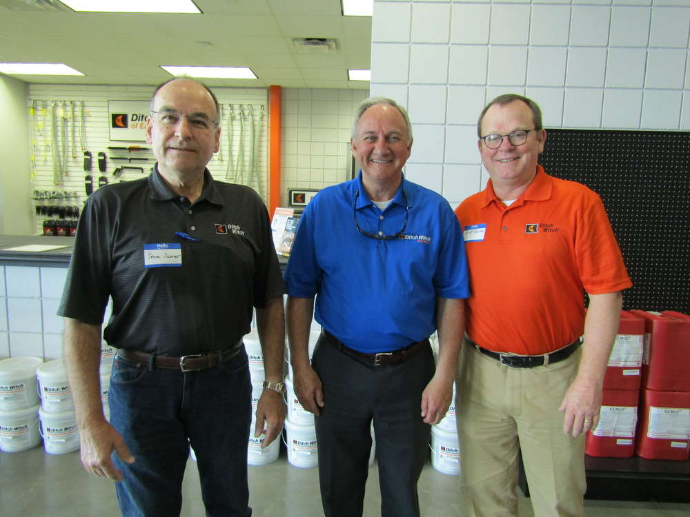 (L-R) are Steve Jester, owner of Ditch Witch of South Louisiana; Jim Gilmore, owner of Ditch Witch Mid-South; and Scott Smith, Ditch Witch director of sales.