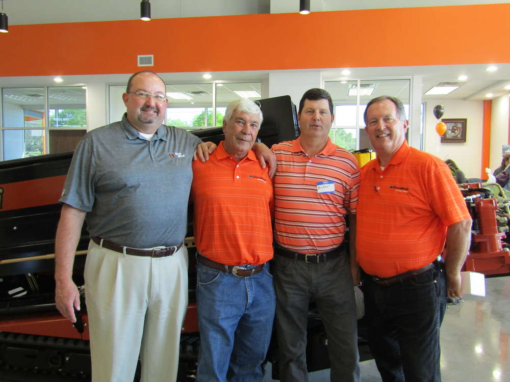 A-1 Rental owner Michael Frazier (2nd from R) was welcomed by (L-R) Roger Lane of Ditch Witch; Paul Knuckley, owner of Ditch Witch East Texas; and Bart Young, GM of Ditch Witch of East Texas.