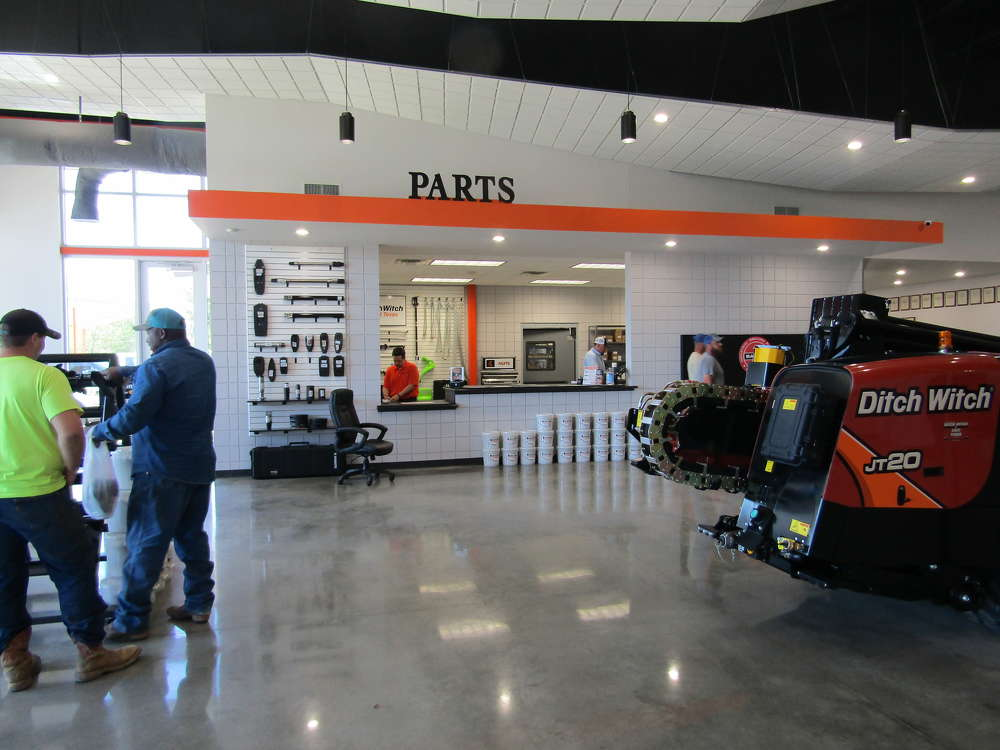 The showroom and parts department of Ditch Witch of East Texas' new facility is ready to welcome customers.