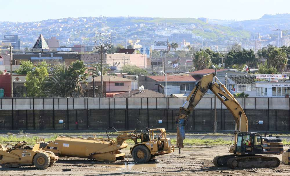 Construction equipment at the U.S.-Mexico border wall in California. Sandy Huffaker Getty Images