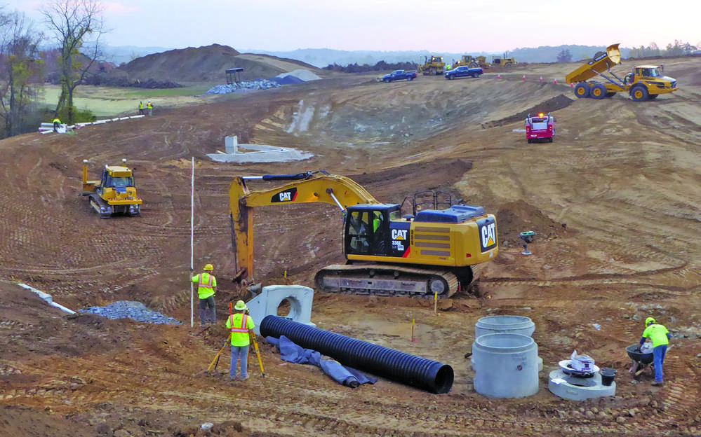 Pipe crews install storm sewers at Hillendale Subdivision to prepare for 151 single-family homes and 59 townhouses in Chester County.