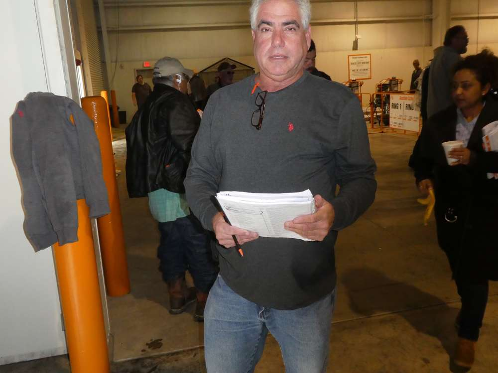 Mike Zyndorf of MZ Construction Equipment and Truck & Trailer Sales & Rentals, Mays Landing, N.J., as always, is ready for the auction.