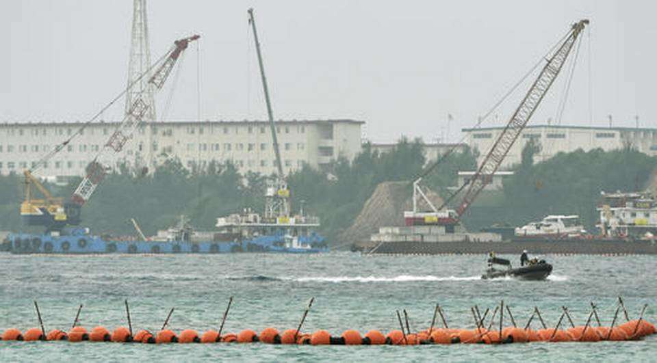 Japan's government started offshore construction work to relocate a U.S. Marine base on Okinawa.