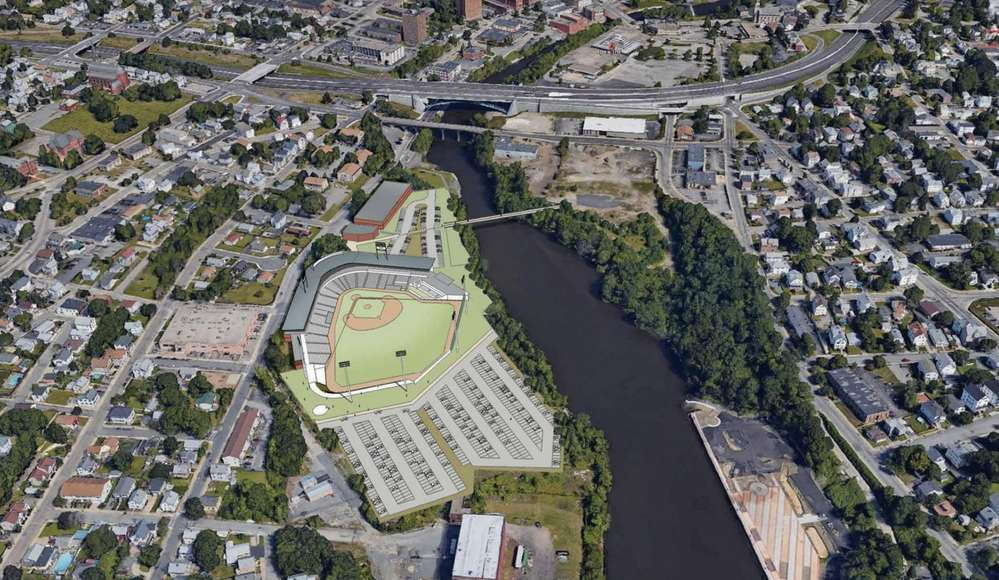 Artist rendering of the proposed stadium in Providence of the minor league baseball team.