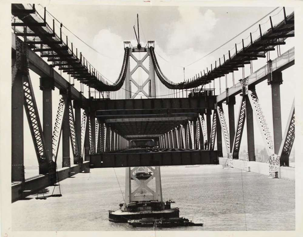Construction of the bridge ran from 1933 to 1936. Photos via Swann Auction Galleries