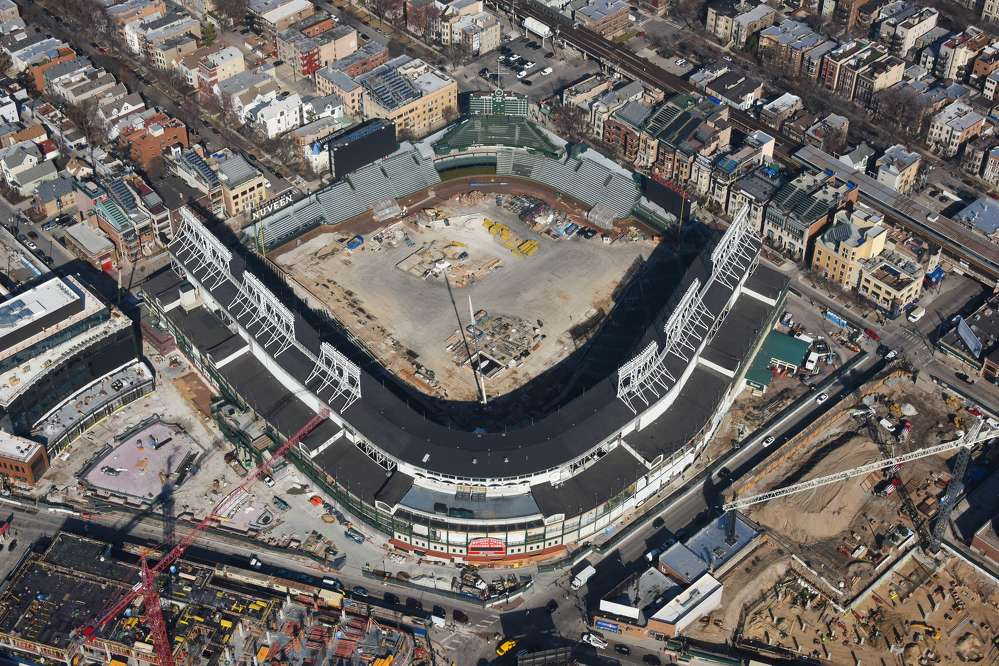 Curtis Waltz, aerialscapes.com photo  As the Chicago Cubs get ready to take the field for the first pitch of the 2017 season, the 1060 Project, a multi-year, $750-million renovation project of Wrigley Field, is in its seventh-inning stretch.