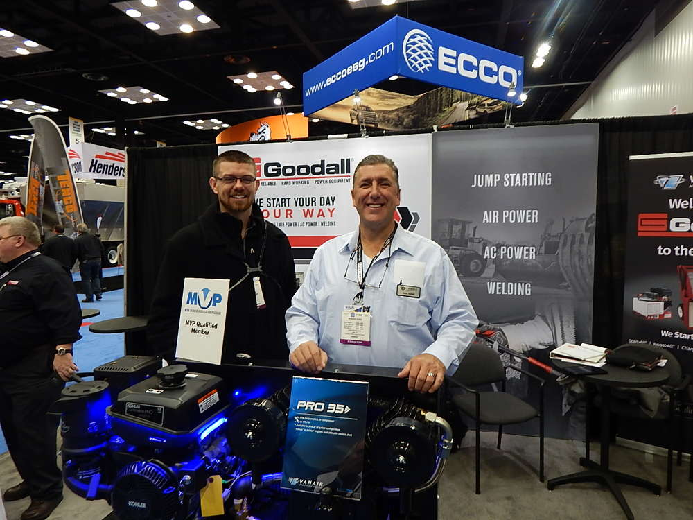 Brady Christianson, Stellar Truck & Trailer, Mason City, Iowa, and Steve Sevald, Praxair Manufacturing, Michigan City, Ind., man the Goodall booth.