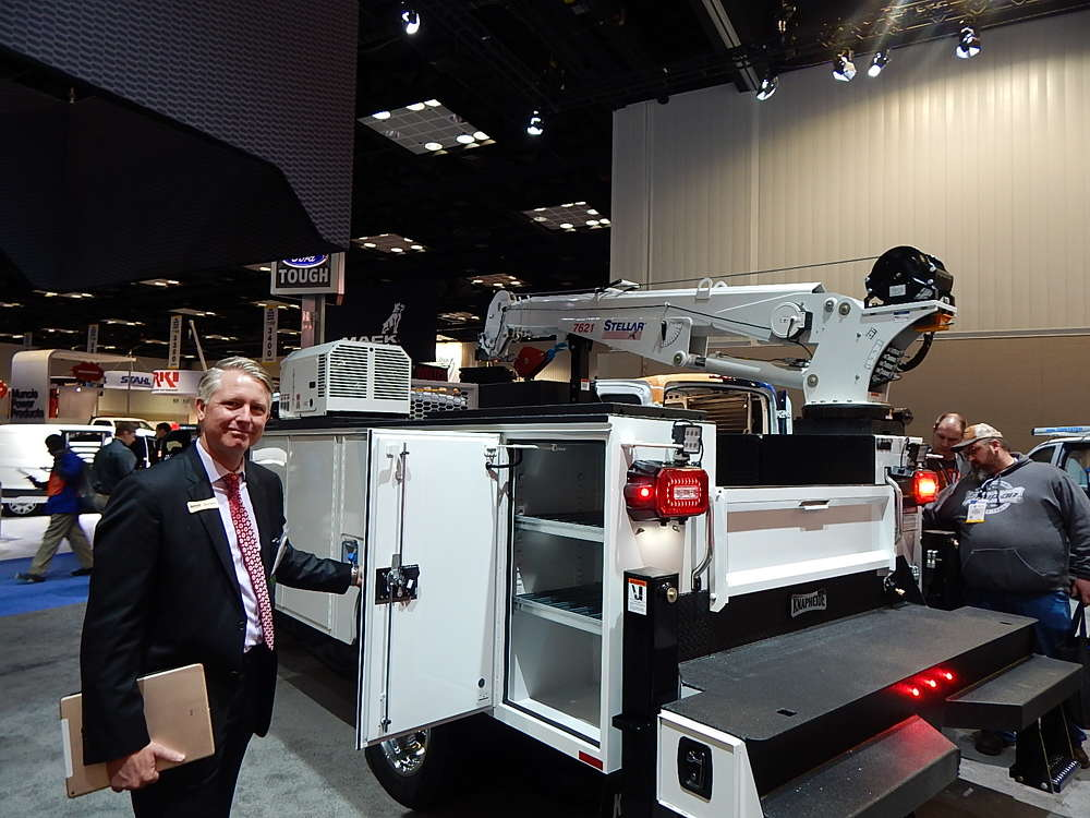 Chris Weiss, Knapheide, vice president of engineering, Quincy, Ill., discusses new heavy duty service body compartments.