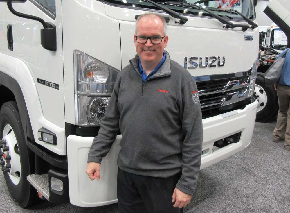 Brian Tabel of Isuzu Commercial Truck of America presented the 2018 Isuzu FTR, the  company's new entry in the Class 6 medium-duty truck segment.