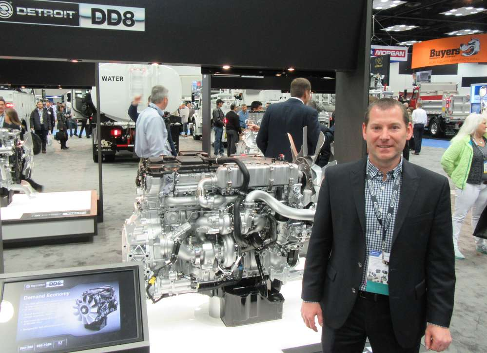 Chris Moran, Fraightliner, discusses the company's introduction of the Detroit DD8 engine, which is geared toward the vocation truck market.