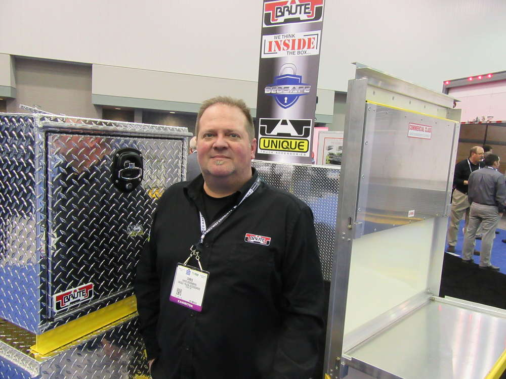 Chris Rosenberg, Unique Truck Accessories, explains the features of the company's line of aluminum tool boxes.