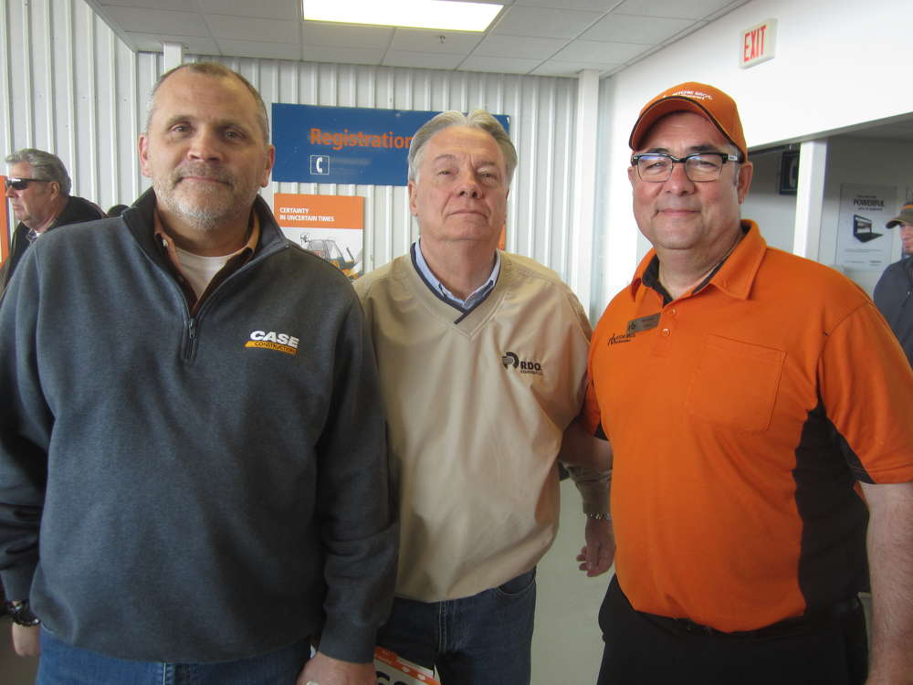 (L-R) are Jay Courtney, sales manager, equipment division, McCann Industries; Terry North, remarketing sales, RDO Equipment Co.; and Rich Evans, Ritchie Bros. Auctioneers.