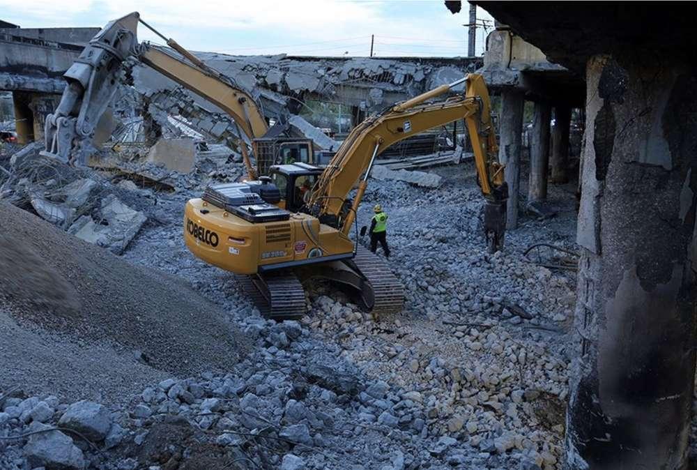 Demolition of the bridge. GDOT