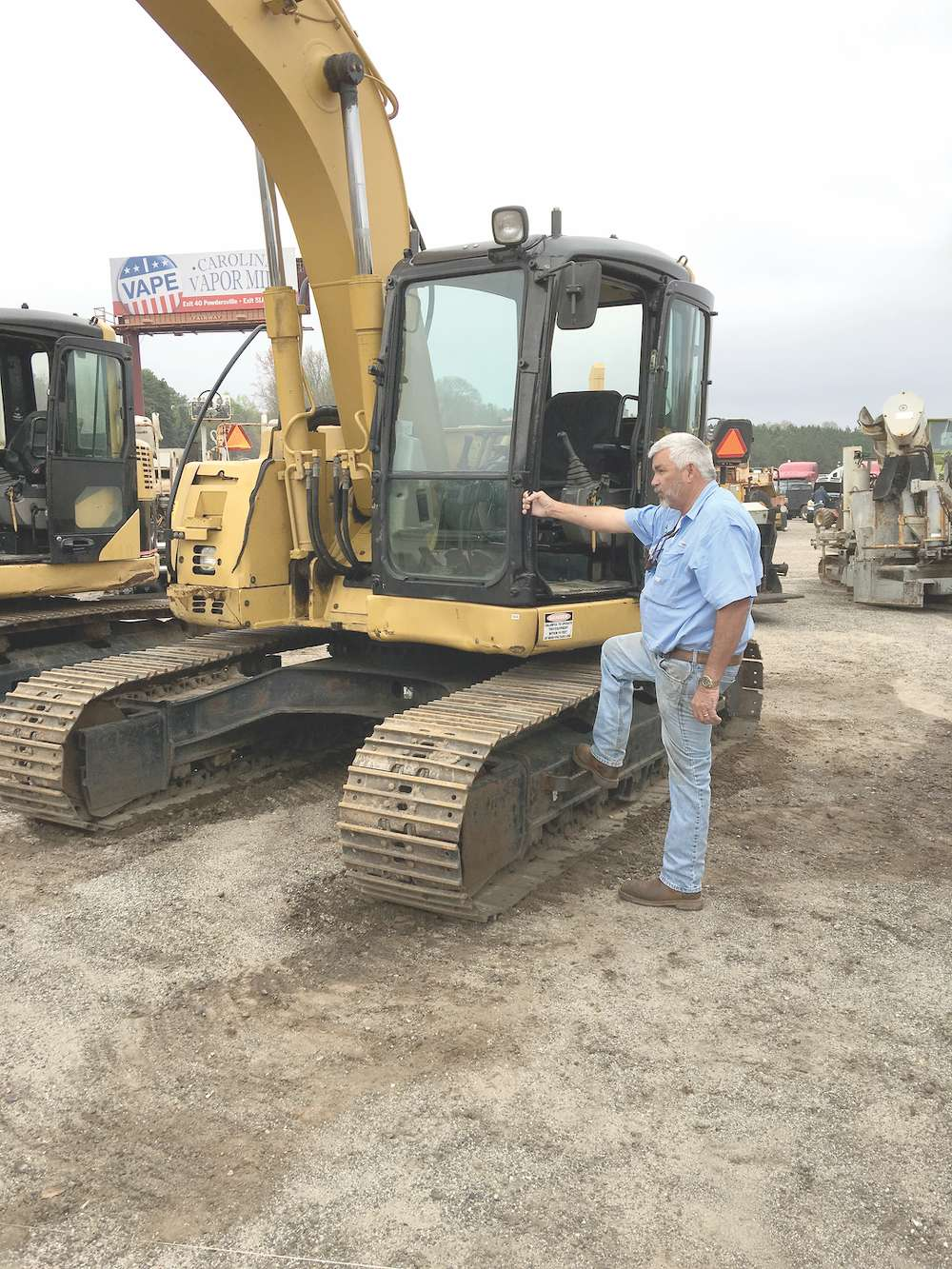 David Smith of Smith Tree Service, Anderson, S.C. tests this Cat 314C excavator and plans to bid on it.