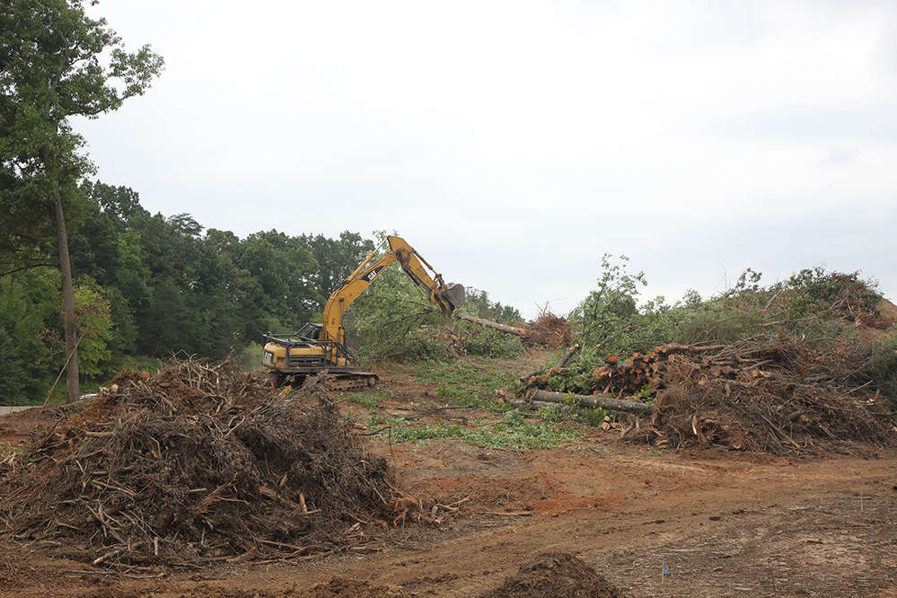 Extensive tree clearing and grading is being performed in the median of Interstate 95.