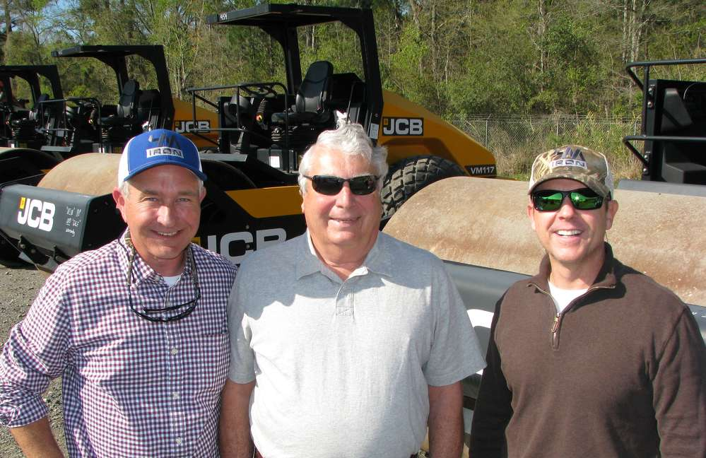 (L-R): Ross McMillan, 4M Iron, Charleston, S.C.; Cash Rhodes, Grove River Machinery, Richmond Hill, Ga.; and Mike Finley, also of 4M Iron, shop the selection of JCB compactors.