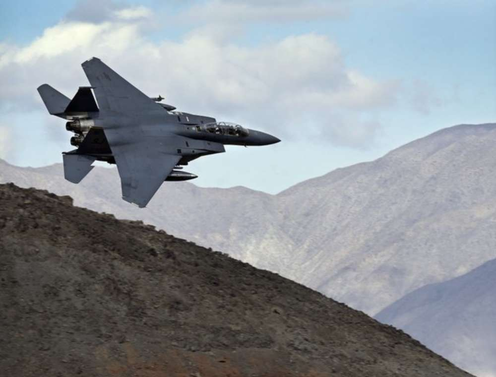 F-18 fighter jets fly through what is known as Star Wars Canyon in the Death Valley National Park in California. (AP Photo/Ben Margot)