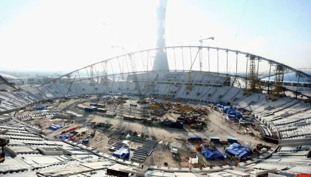 Construction of the stadium as of March 31, 2017.