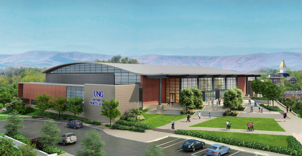 Lord Aeck Sargent + ROSSETTI rendering  A rendering of the completed convocation center on the University of North Georgia's Dahlonega campus