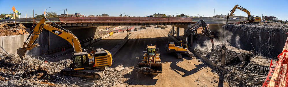 Colorado Department of Transportation photo. Construction of a new bridge is part of the $66 million I-25 and Arapahoe Road Interchange Improvements Project in the Colorado cities of Centennial and Greenwood Village south of Denver.