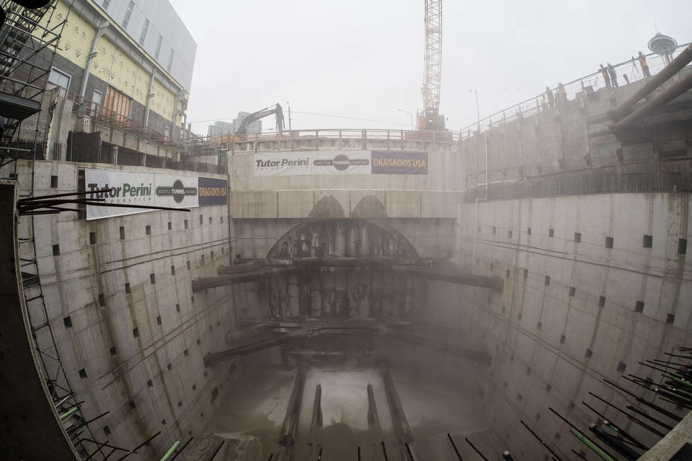 Before breakthrough: The SR 99 tunneling machine's disassembly pit prior to Bertha's breakthrough on April 4, 2017.