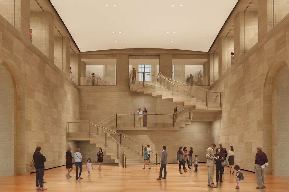 Architectural rendering by Gehry Partners, LLP and KX-L The Forum, looking west and up to Lenfest Hall. The Forum extends from Level A to Level C and will be one of the most highly trafficked and recognizable areas created during the Core Project. This stunning space will serve as a venue for performances and events, as well as a welcoming spot for visitors to socialize or orient themselves.