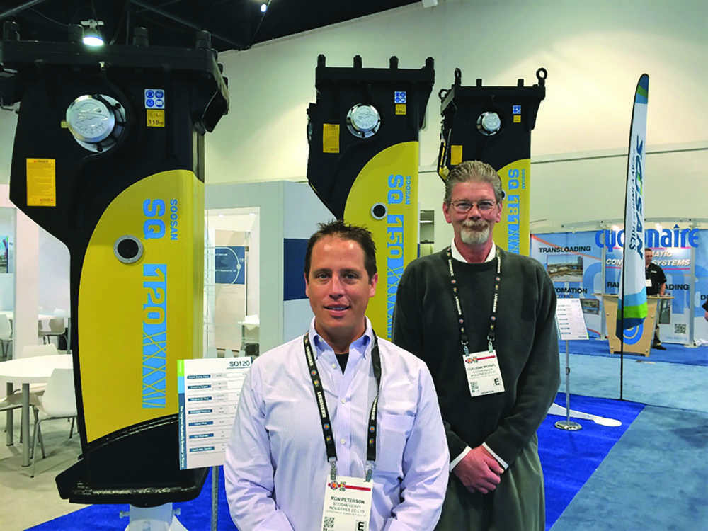 Ron Peterson (L) and Mike Colligan, Soosan's product support manager at ConExpo 2017.