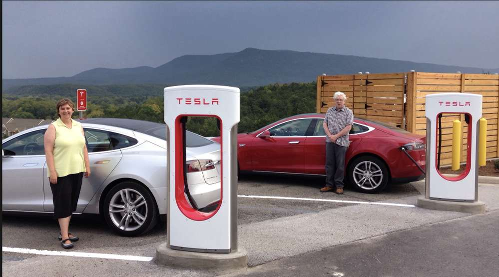 Tesla owners charge up at a station that was built in Strasburg, VA.