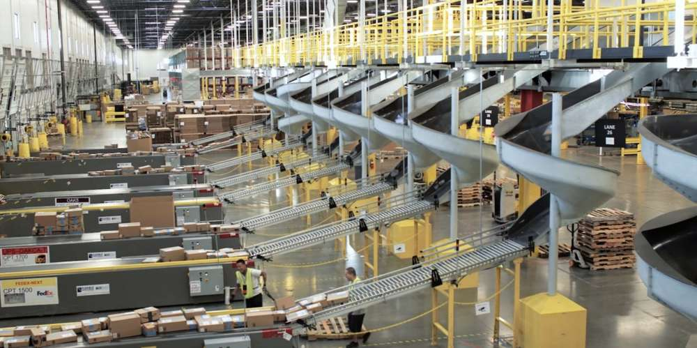 Inside an Amazon warehouse facility. Photo via Business Insider.
