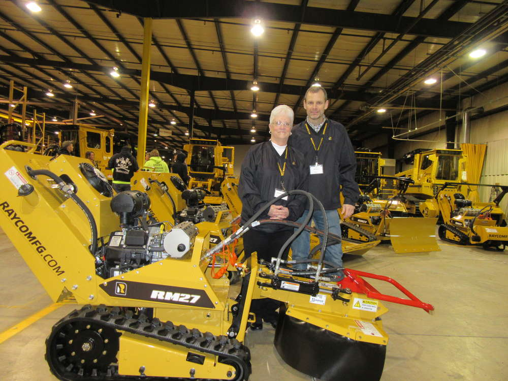 Rayco's Pauline Williams (L) and Jim Miller showcased the company's recently introduced RM27 tool carrier.