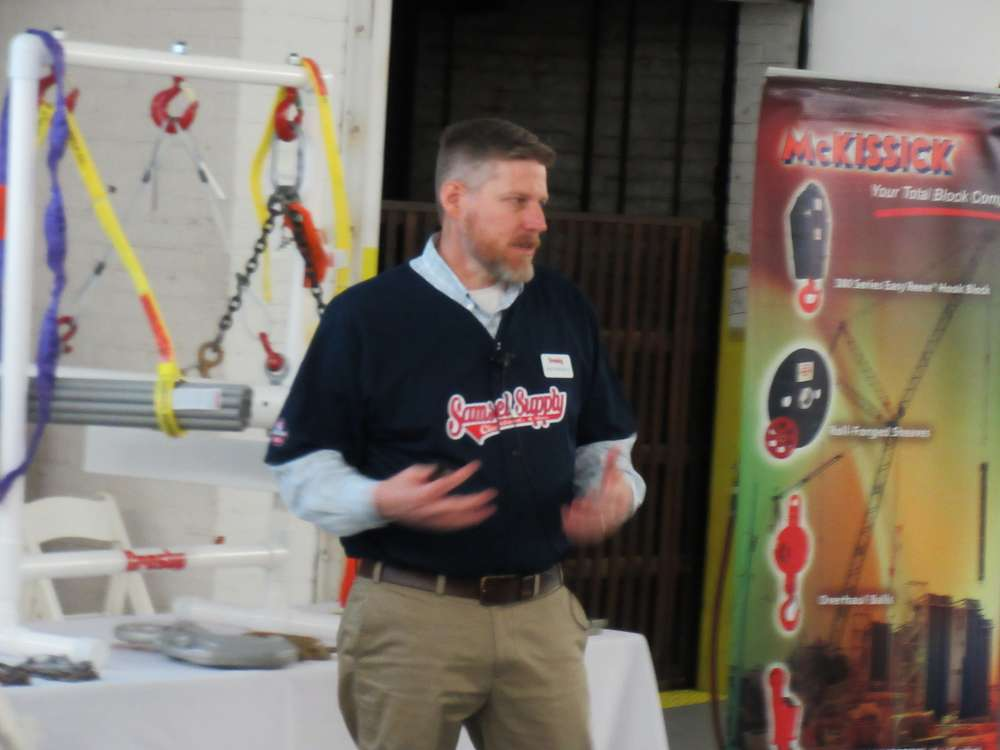 Jason Birdwell of Crosby discusses rigging standards during the Spring Rigging and Lifting Training Session.