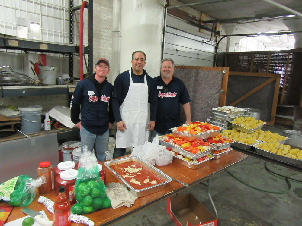 (L-R): Jim Canfield of Chicago, Ill.; Bob Graham of Pittsburgh, Pa.; and Paul DeMattie of Wallingford, Conn., all of Crosby, came in to lend their rigging expertise and to cook up the company's traditional after training feast, their famous Cajun Shrimp Boil.