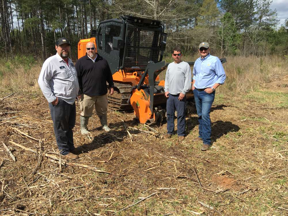 (L-R): Ral Knowlton of Nickles Land Clearing in Hodges, S.C.; Lee Smith of FAE; Donald Strickland of Stricks Forestry Mulching & Land Clearing in Honea Path, S.C.; and Giorgio Carera of FAE, discuss the PT-175, a compact size tracked carrier with 160 hp.