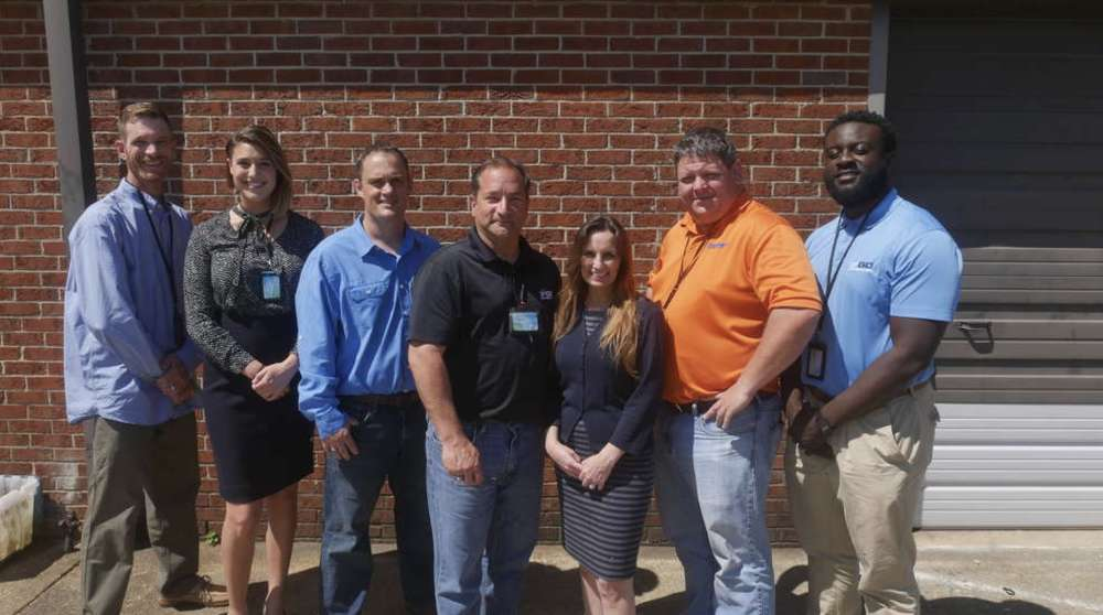 (L-R) are Scott Currin, regional sales representative; Maria Kolar, marketing and communications manager;  Mike Amann, regional sales representative; Richard Mankin, manager; Liz Bayer, finance and inventory control; Brenden Bottum, lead UAV technician; and Asante Amaning, UAV technician, all of Go Unmanned, a division of Benchmark Tool & Supply Inc.