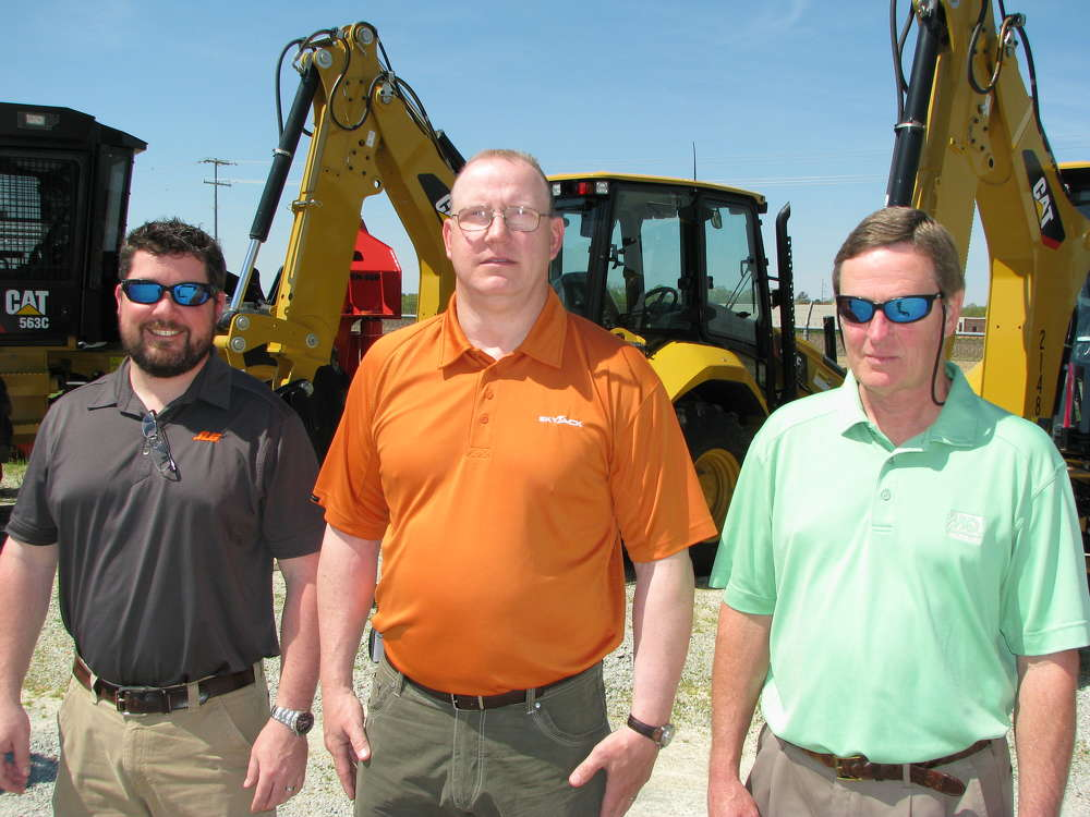 (L-R):David Thompson, JLG district manager, McConnellsburg, Pa.; George Kidwell, Skyjack business manager, Ontario, Canada; and Brian Phillips, MultiQuip district manager, Carson, Calif., came out to support the event.