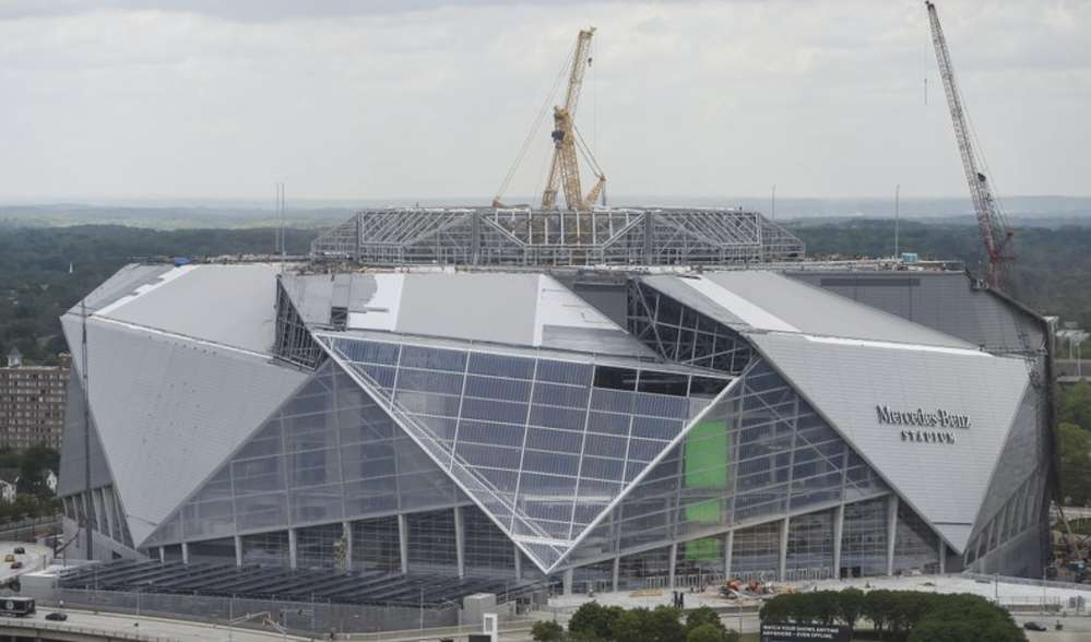 Construction is expected to be completed by Aug. 26 when the Falcons host the Arizona Cardinals in an NFL preseason game. (AP Photo/Mike Stewart, File)