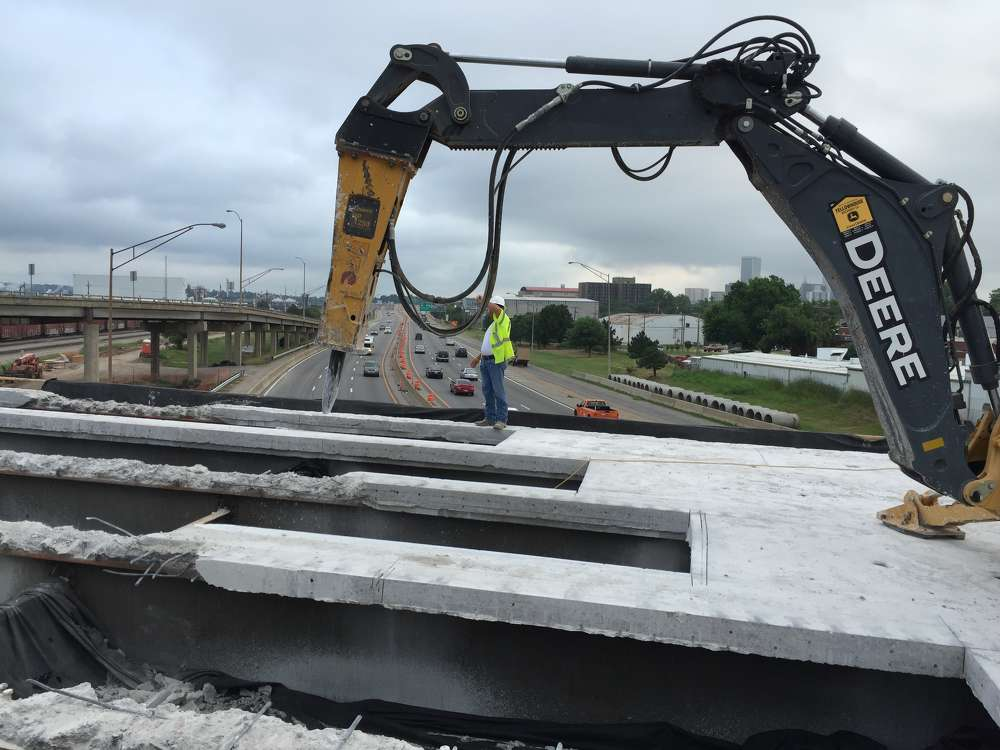Oklahoma Department of Transportation photo. Pier protection will be part of a nearly $20 million bridge rehabilitation project now under way on the 23rd St. bridge over I-244 in Tulsa, Okla.