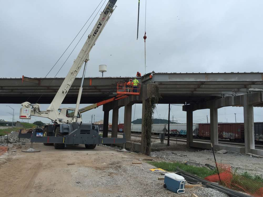 Oklahoma Department of Transportation photo.  Workers will replace the bridge deck, erect crash walls for each pier, improve the substructure and make critical safety improvements.