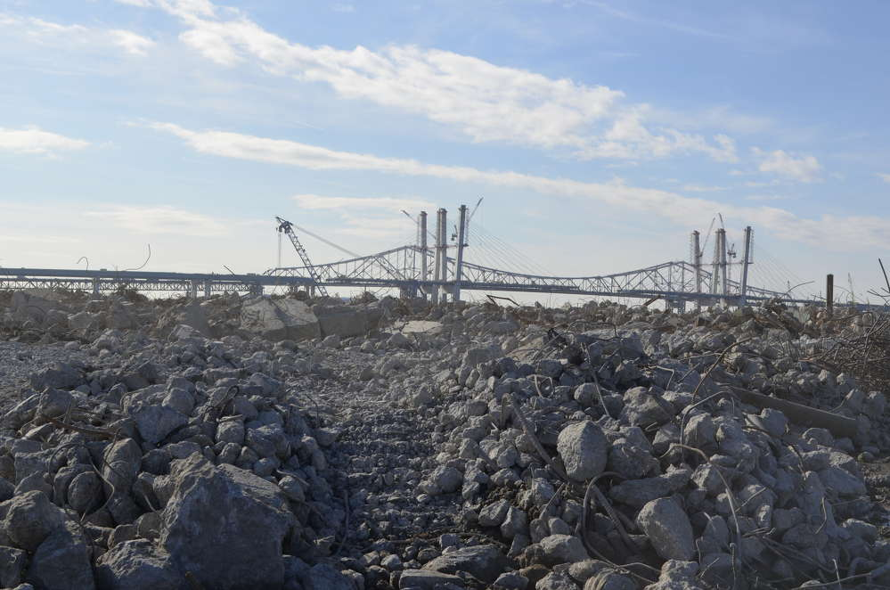 A view of the 60-plus acre parcel that was once home to a General Motors assembly plant.  Note the Tappan Zee Bridge under construction in the background.