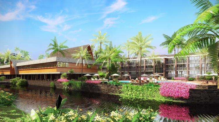 Artist rendering of the Coco Palms hotel after renovations.  Courtesy of Agor Architects.