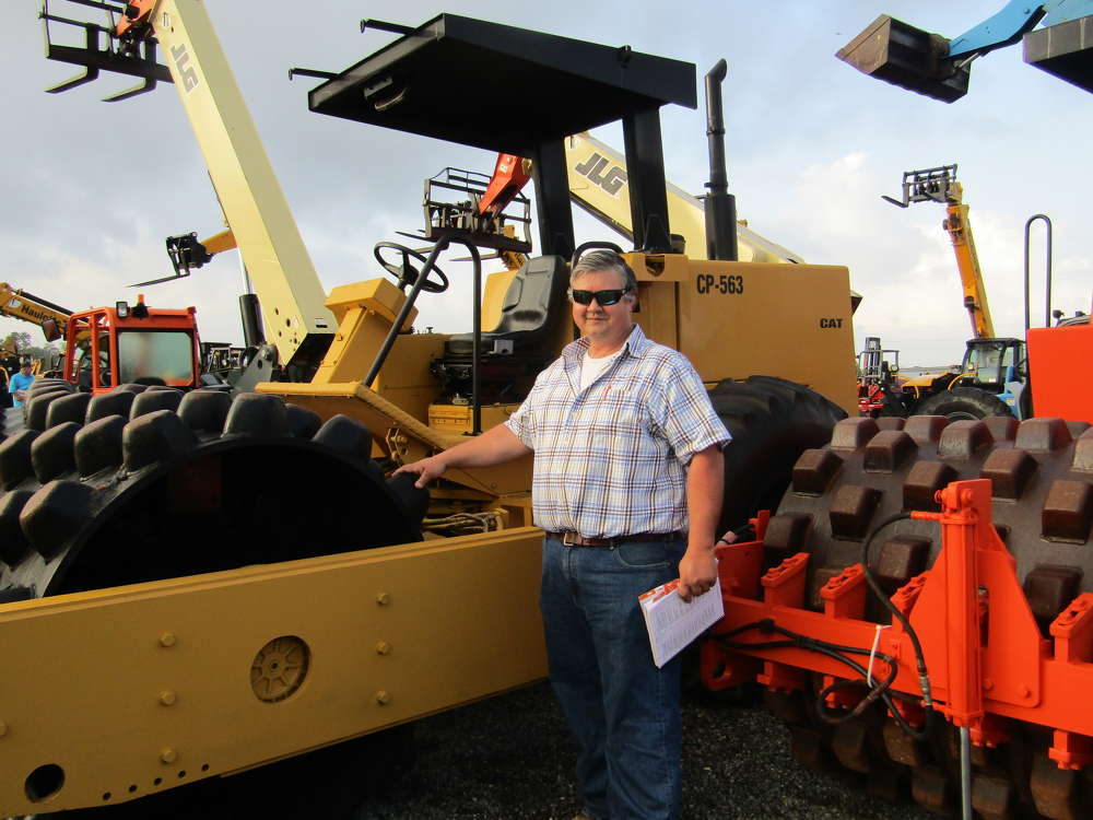 Hal Krag owns Trey Contractors, a utility contractor in Memphis, Tenn. He was on hand to buy excavator buckets and took a look at this Cat CP563 vibratory compactor.