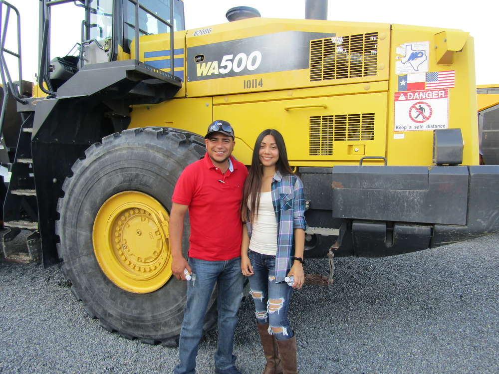 Christian Peralta (L) and Sofia Sanchez of J&J Stone in Jarrell, Texas, thought this Komatsu WA500 wheel loader would sure come in handy around the yard.