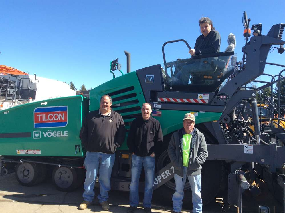 Eager to find out how the latest technology can benefit them are Torrington, Conn.'s O&G Industries crew — (L-R): Robert Riggi, foreman; Mike Ronaldi, screedman; Sylvester DuCruz, screedman; and Vic Capirhio, operator.